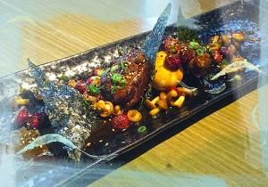 Pork jowl with black pepper sauce, roasted radish, tempura nori and soft poached egg