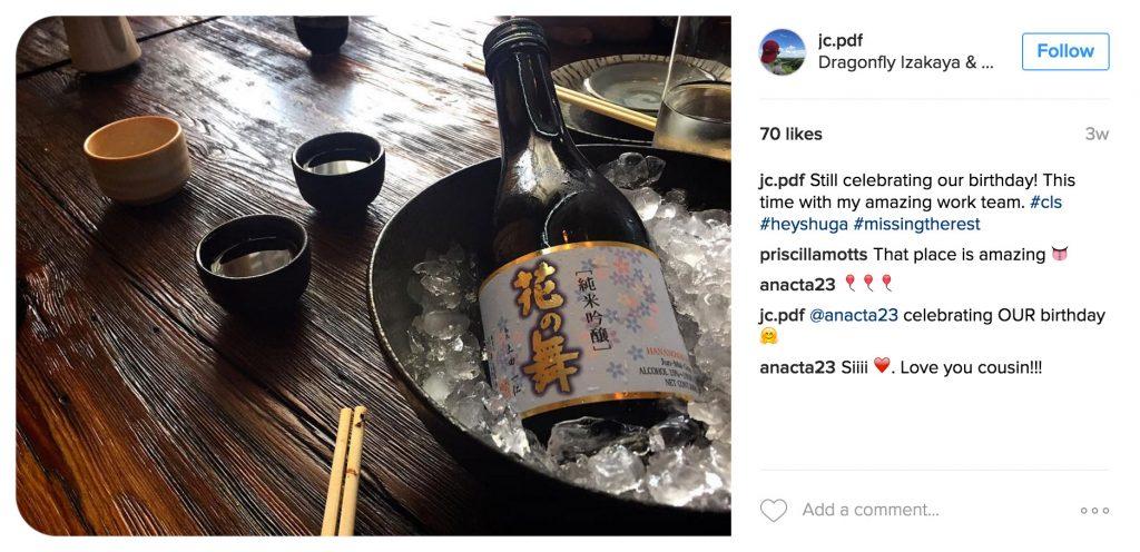 Instagram user jc.pdf posts a birthday celebration picture.