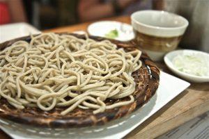 soba Noodles on a platter.