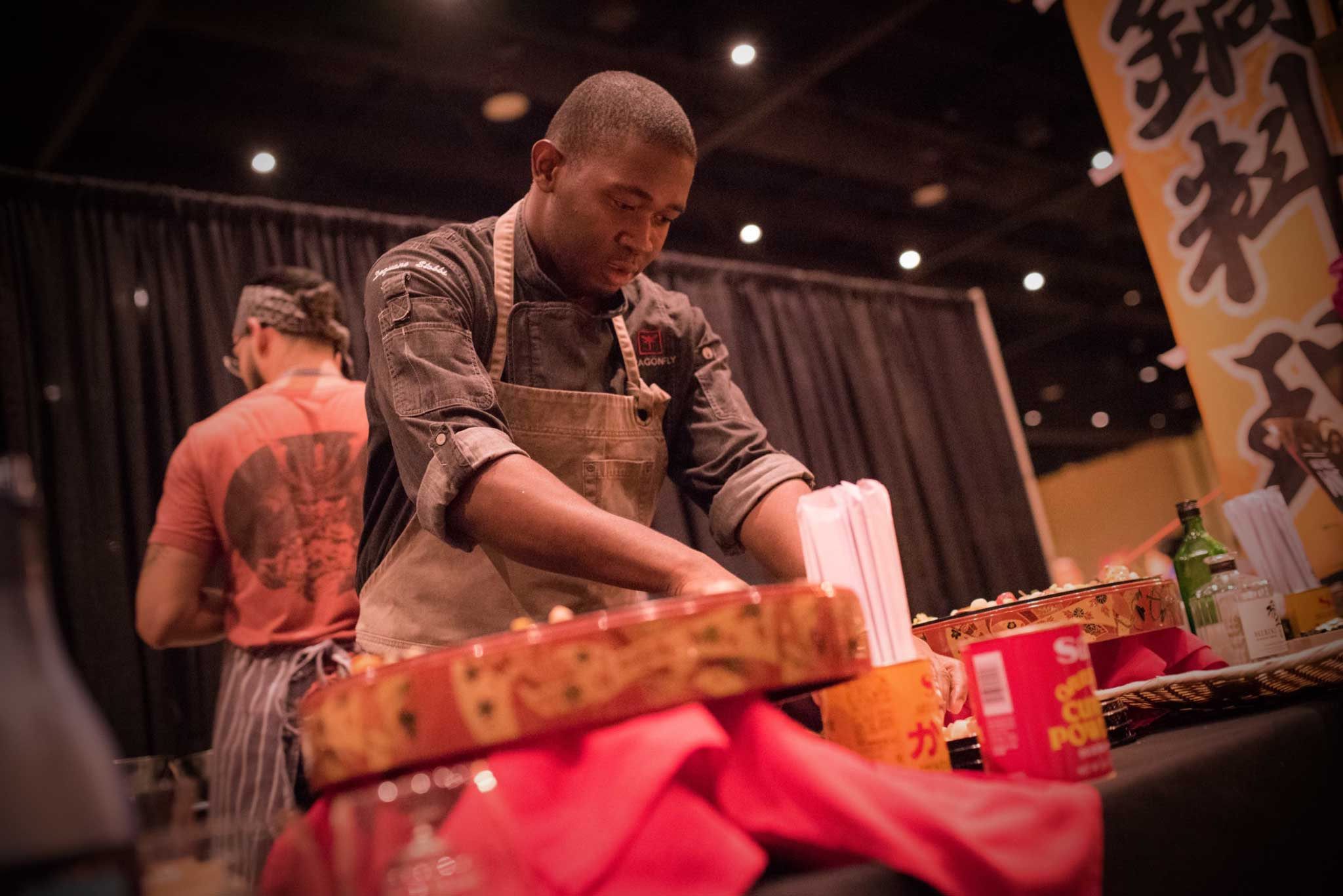 Chef DQ of Dragonfly Robata Grill & Sushi (Sand Lake Road, Orlando - Dr. Phillips) at Taste Central Florida 2017.