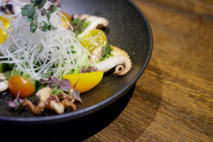 Wild line caught spanish octopus in the Dragonfly Doral Octopus sunomono salad.
