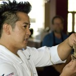 Chef Ray teaching at Behind the Knife a Dragonfly sushi class.