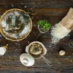 Tamaki Gold Koshhikari rice and live Blue Crab used in the Dragonfly Chahan (Japanese Garlic Blue Crab Fried Rice).
