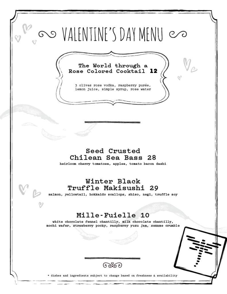 Orlando Valentine's Day menu 2019